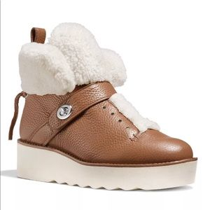 COACH URBAN HIKER Shearling Leather Platform Boots
